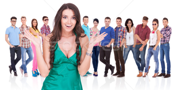 Izgatott nő csoport lezser emberek fiatal Stock fotó © feedough