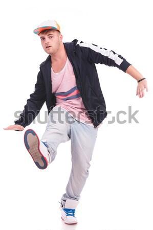 Stockfoto: Mannelijke · danser · poseren · een · been