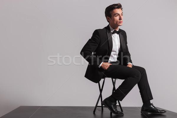 seated elegant man dreaming away Stock photo © feedough