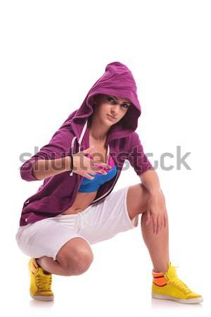 хип-хоп женщину прикасаться полу молодые танцовщицы Сток-фото © feedough