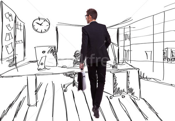 walking businessman on an office like sketched background Stock photo © feedough