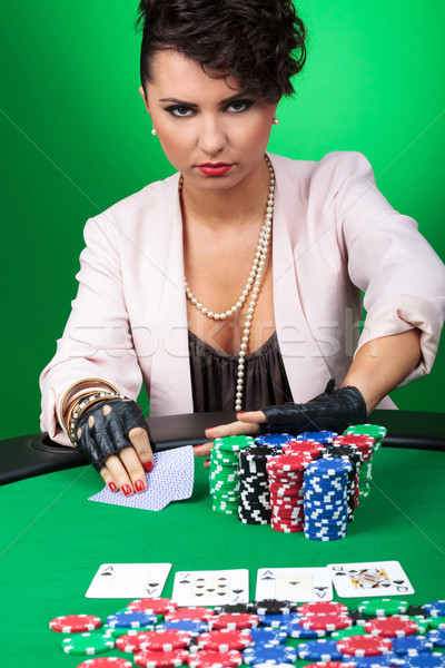 young woman goes all in Stock photo © feedough