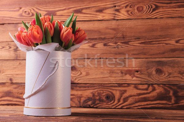colorfull bunch of tulips in a round box Stock photo © feedough