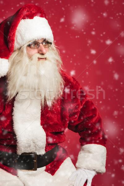 Assis côté neige rouge Photo stock © feedough
