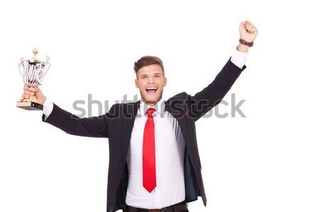 радостный элегантный бизнесмен пальцы оба Сток-фото © feedough