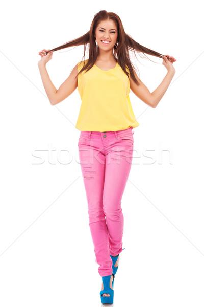 Foto stock: Belo · casual · mulher · cabelo