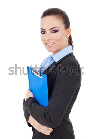Сток-фото: портрет · деловой · женщины · буфер · обмена · изолированный · белый