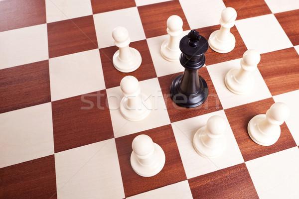 Király fából készült sakktábla sport sakk csapat Stock fotó © feedough