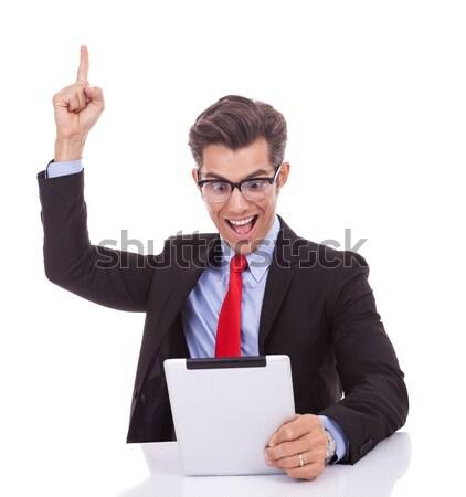 Сток-фото: молодые · деловой · человек · таблетка · победу · знак · сидят