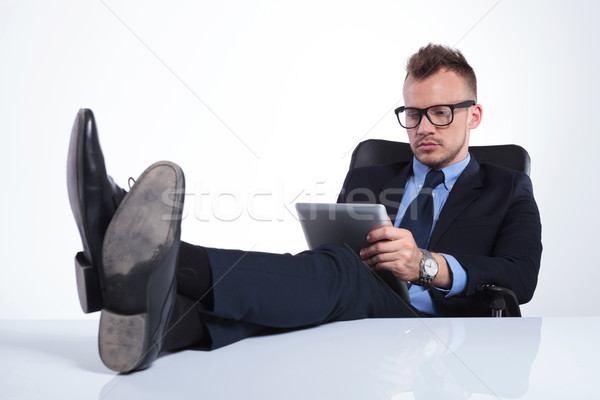 serious business man reads his emails Stock photo © feedough