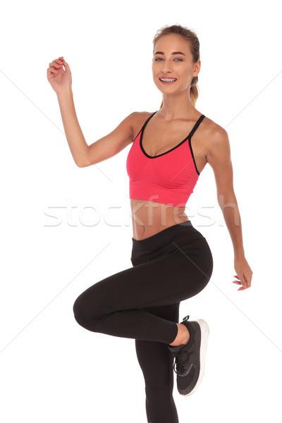 Сток-фото: счастливым · женщину · фитнес · инструктор · тело · спортзал