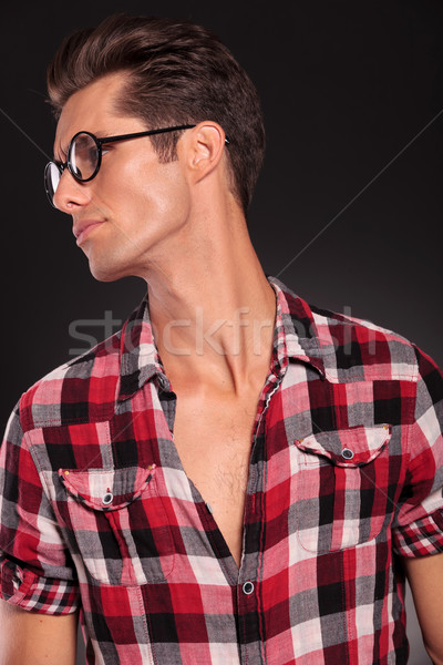 profile of a casual young man wearing glasses Stock photo © feedough