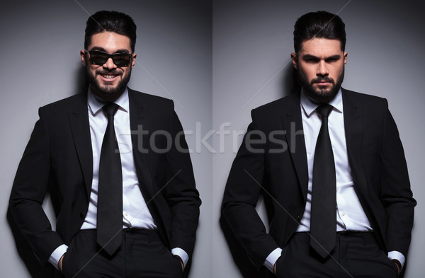 double photo of young fashion man looking at you Stock photo © feedough