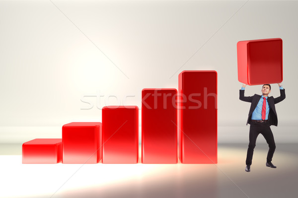 business man pushing the growth bar up Stock photo © feedough