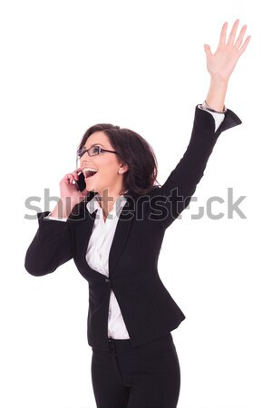 business woman victorious on phone Stock photo © feedough