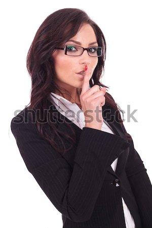 Business woman w górę młodych gest Zdjęcia stock © feedough