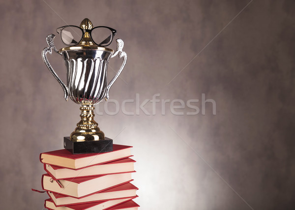 student champion award with glasses on pile of books Stock photo © feedough
