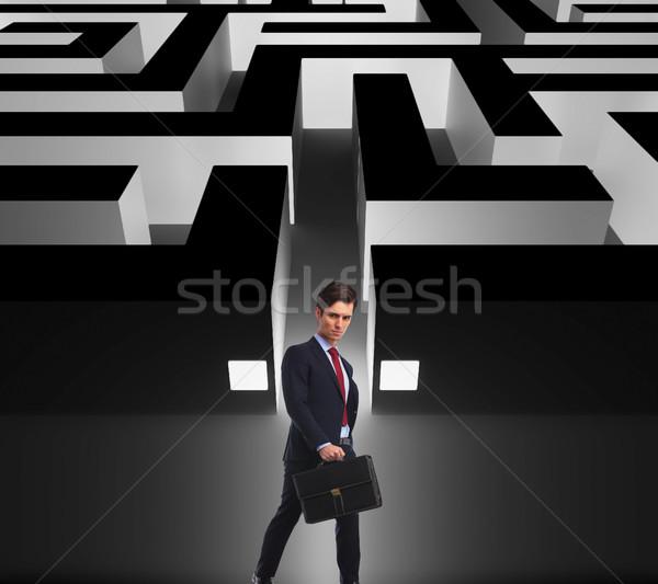 Foto d'archivio: Vista · laterale · imprenditore · piedi · labirinto · ingresso · grande