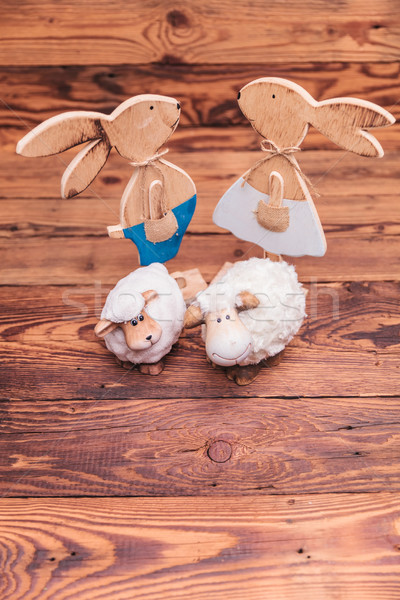 Fából készült húsvét játék birka összes együtt Stock fotó © feedough