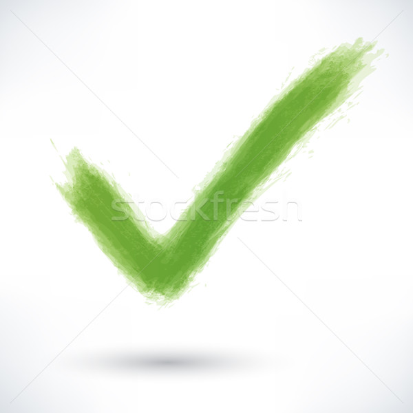 Green check mark sign with gray shadow Stock photo © feelisgood