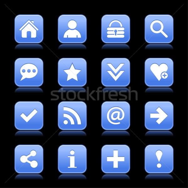 Blue satin icon web button with white basic sign Stock photo © feelisgood