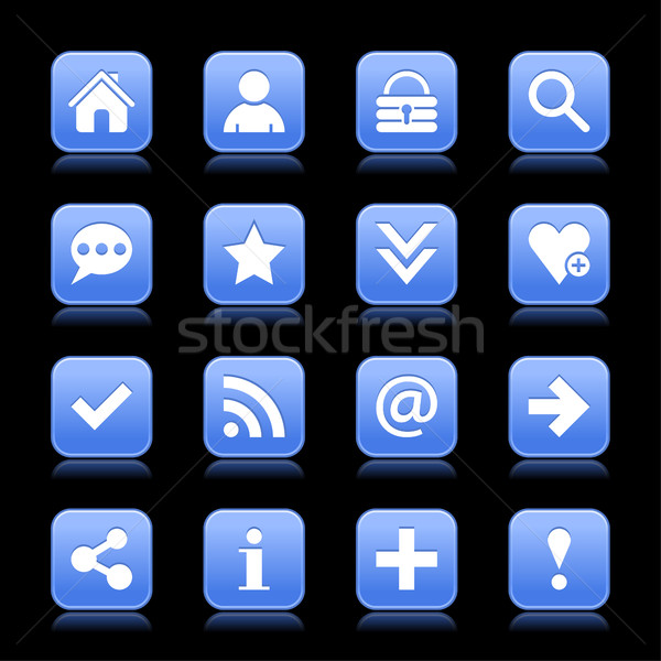 Azul cetim ícone branco básico Foto stock © feelisgood