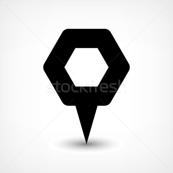 黒 地図 ピン 場所 にログイン 六角形 ストックフォト © feelisgood