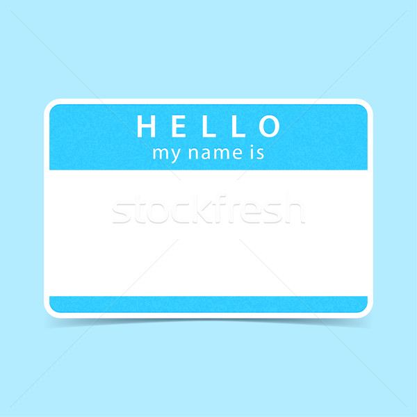 Blue tag sticker HELLO my name is Stock photo © feelisgood