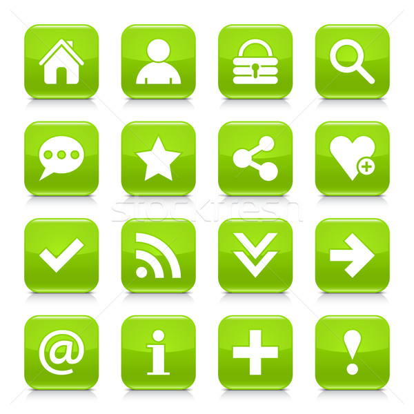 Groene fundamenteel teken vierkante icon Stockfoto © feelisgood