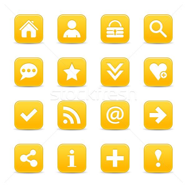 Sarı saten ikon beyaz temel Stok fotoğraf © feelisgood