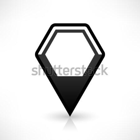 Black map pin flat location sign hexagon icon Stock photo © feelisgood