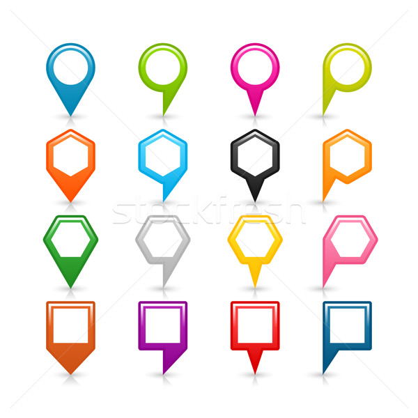 Stock photo: Map pin sign location icon with drop shadow