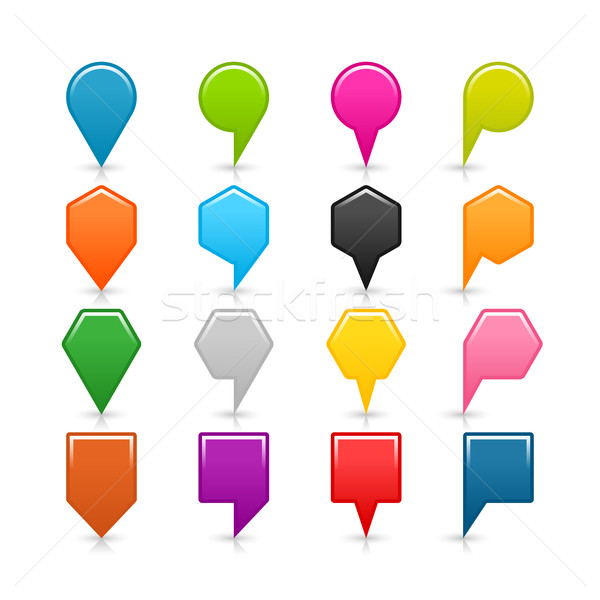 Colored map pin sign icon with gray shadow Stock photo © feelisgood
