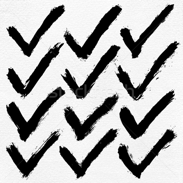 Check mark ink sketch on watercolor paper Stock photo © feelisgood