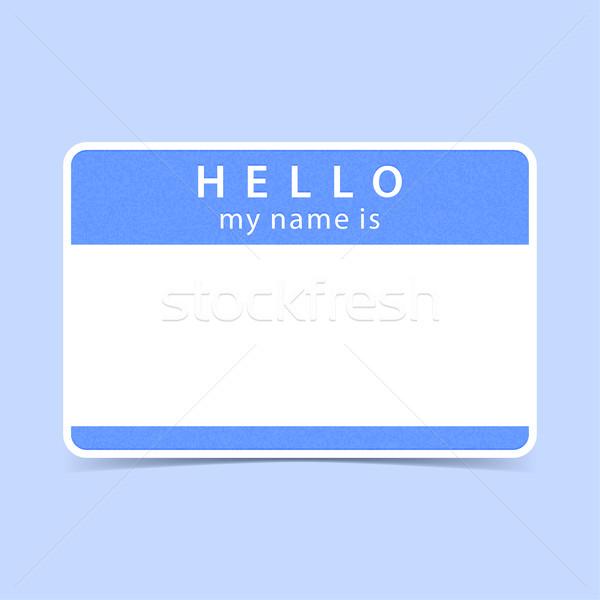 Mavi etiket etiket merhaba benim ad Stok fotoğraf © feelisgood