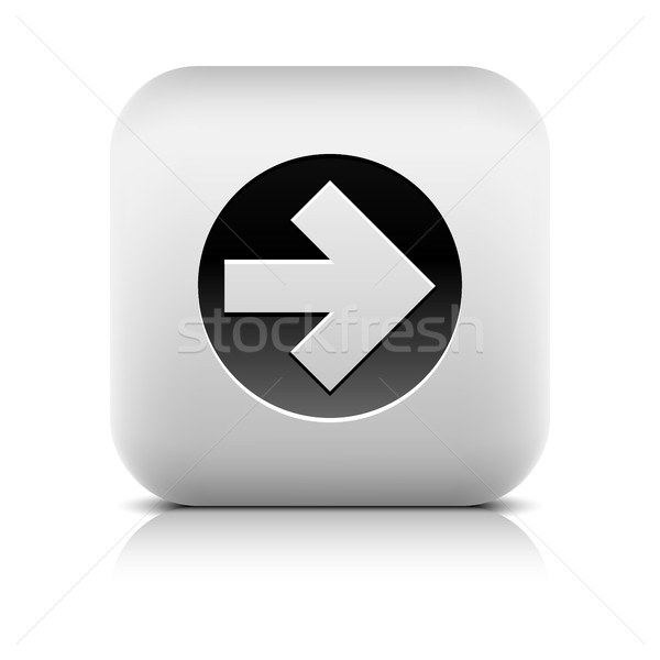 Icon zwarte cirkel vierkante knop Stockfoto © feelisgood