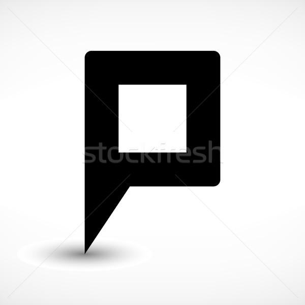 Black blank map pin flat location sign square icon Stock photo © feelisgood