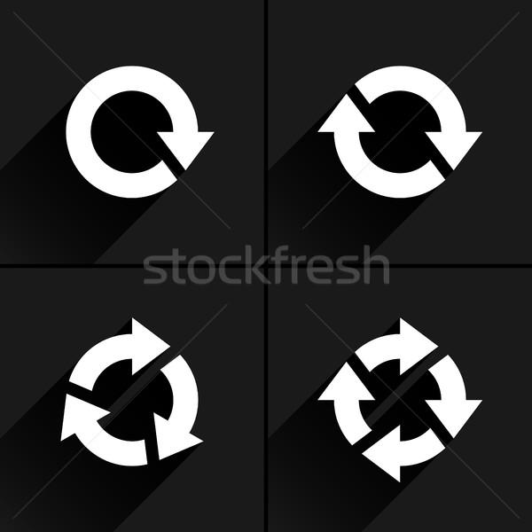 White arrow loop, refresh, reload, rotation icon Stock photo © feelisgood