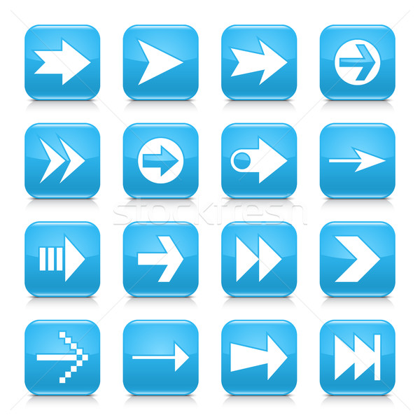 Blue arrow sign rounded square icon web button Stock photo © feelisgood