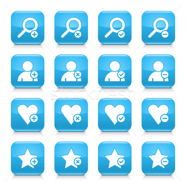 Blue additional sign square icon web button Stock photo © feelisgood