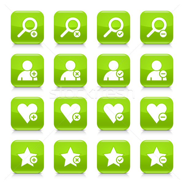 Green additional sign square icon web button Stock photo © feelisgood