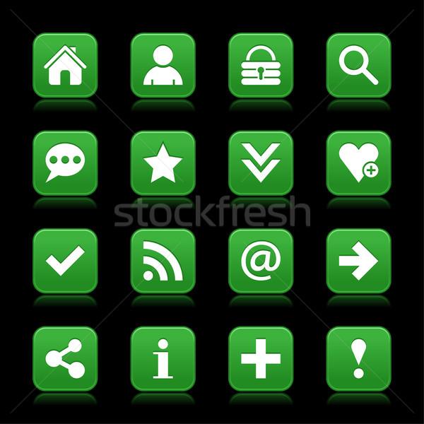 Zielone satyna ikona biały podstawowy Zdjęcia stock © feelisgood