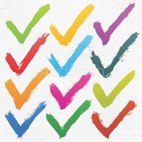 Controleren inkt schets aquarel papier Stockfoto © feelisgood