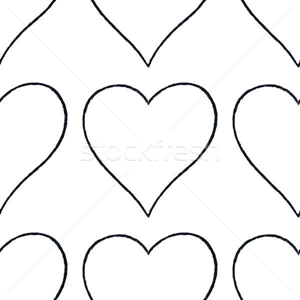 Kalp imzalamak siyah hat Stok fotoğraf © feelisgood