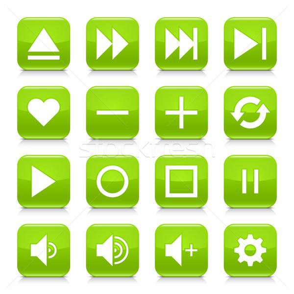 Groene media teken vierkante icon Stockfoto © feelisgood