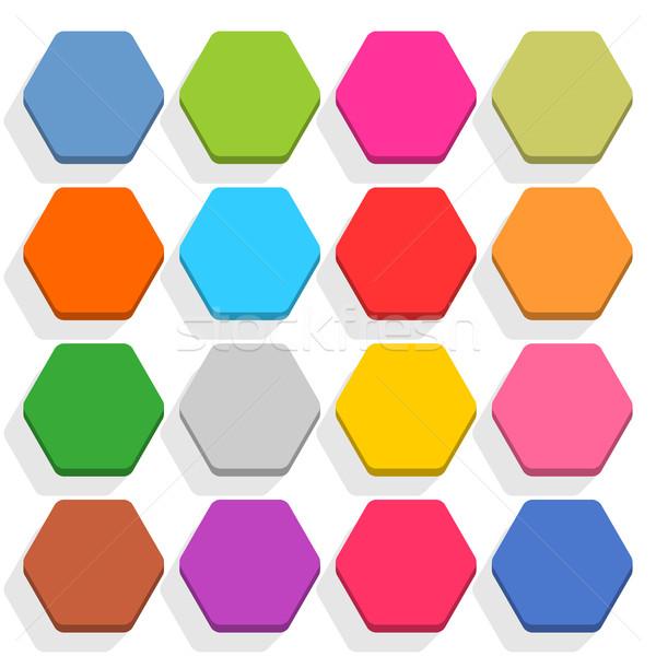шестиугольник тень 16 икона Сток-фото © feelisgood