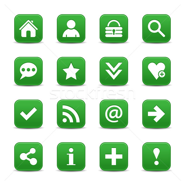 Groene satijn icon witte fundamenteel Stockfoto © feelisgood