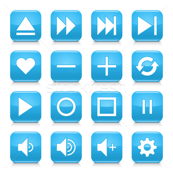 Blue media sign rounded square icon web button Stock photo © feelisgood