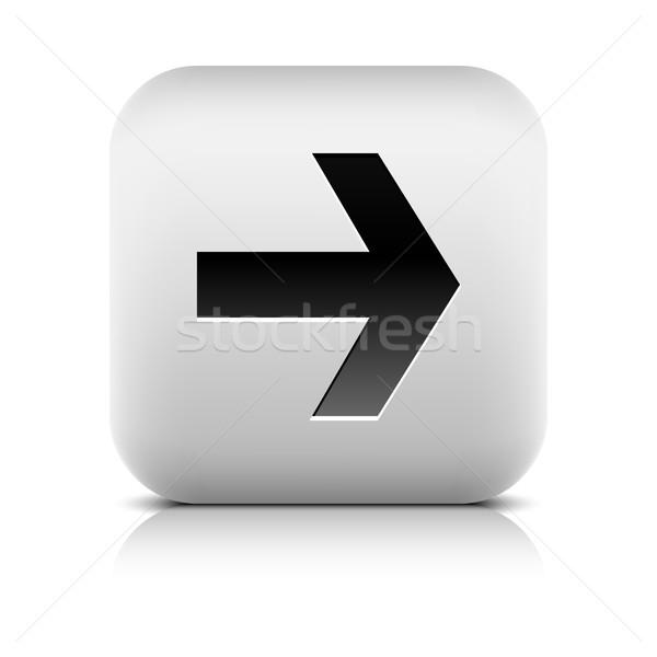 Gri ikon siyah ok işareti kare düğme Stok fotoğraf © feelisgood