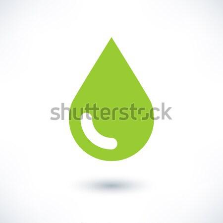 緑 色 ドロップ アイコン グレー 影 ストックフォト © feelisgood